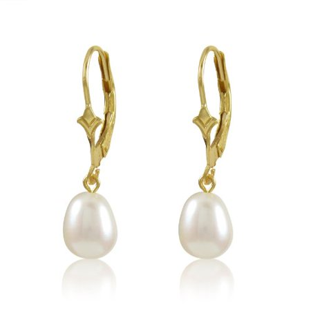Genuine Freshwater Cultured White 7-8mm Drop Pearl 10K Gold Fleur De Lis Dangling Leverback Earrings