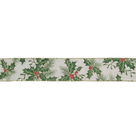 Ivory Holly Berries Wired Christmas Craft Ribbon 2.5