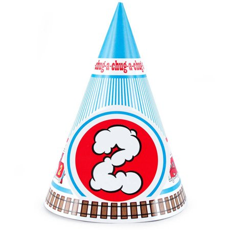Two-Two Train 2nd Birthday Cone Hats, 8pk - Dog Birthday Hat