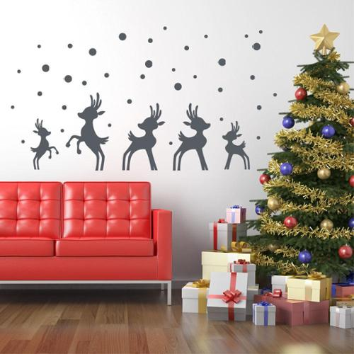 Style and Apply Reindeer in Snow Christmas Wall Decal