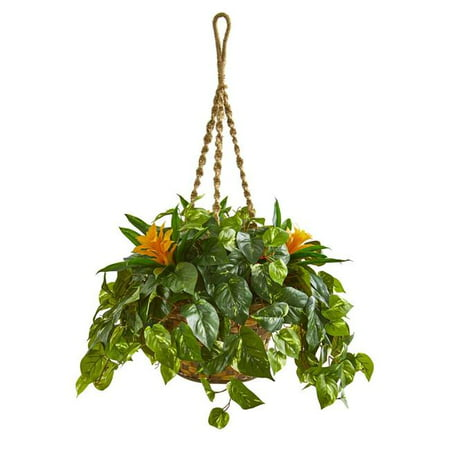 Nearly Natural 8398 31 in. Bromeliad & Pothos Artificial Plant in Hanging Basket - image 1 de 1