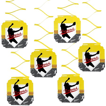 Grand Slam - Fastpitch Softball - Birthday Party or Baby Shower Hanging Decorations - 6 Count