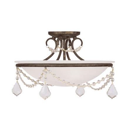 16in Semi Flush (Semi Flush Mounts 3 Light With White Alabaster Glass Hand Applied Venetian Golden Bronze size 16 in 225 Watts - World of Crystal)