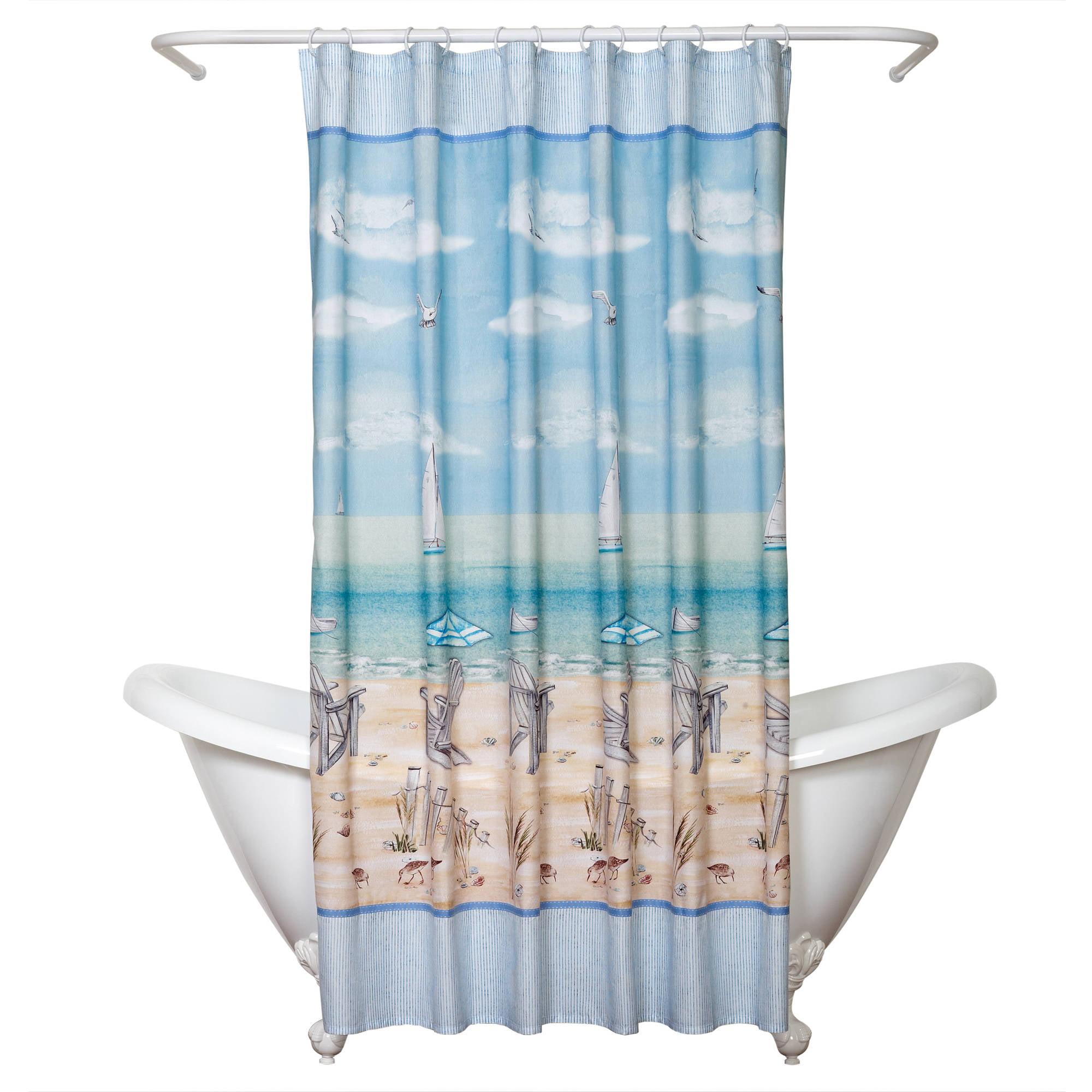 Zenna Home India Ink Seaside Serenity Shower Curtain, Coastal/Beach