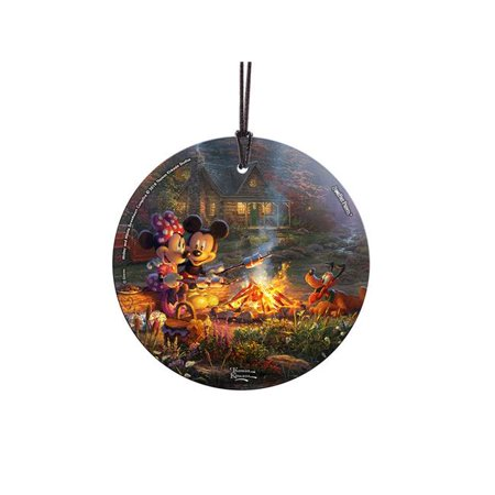 Trend Setters SPCIR868 Thomas Kinkade Mickey & Minnie Sweetheart Campfire StarFire Prints Hanging Glass