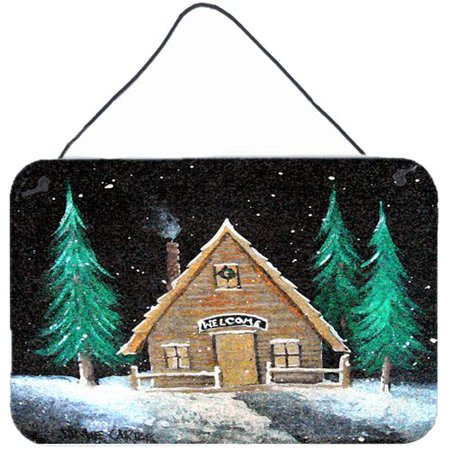 Caroline's Treasures Welcome Lodge Christmas Log Home by Jamie Carter Painting Print Plaque