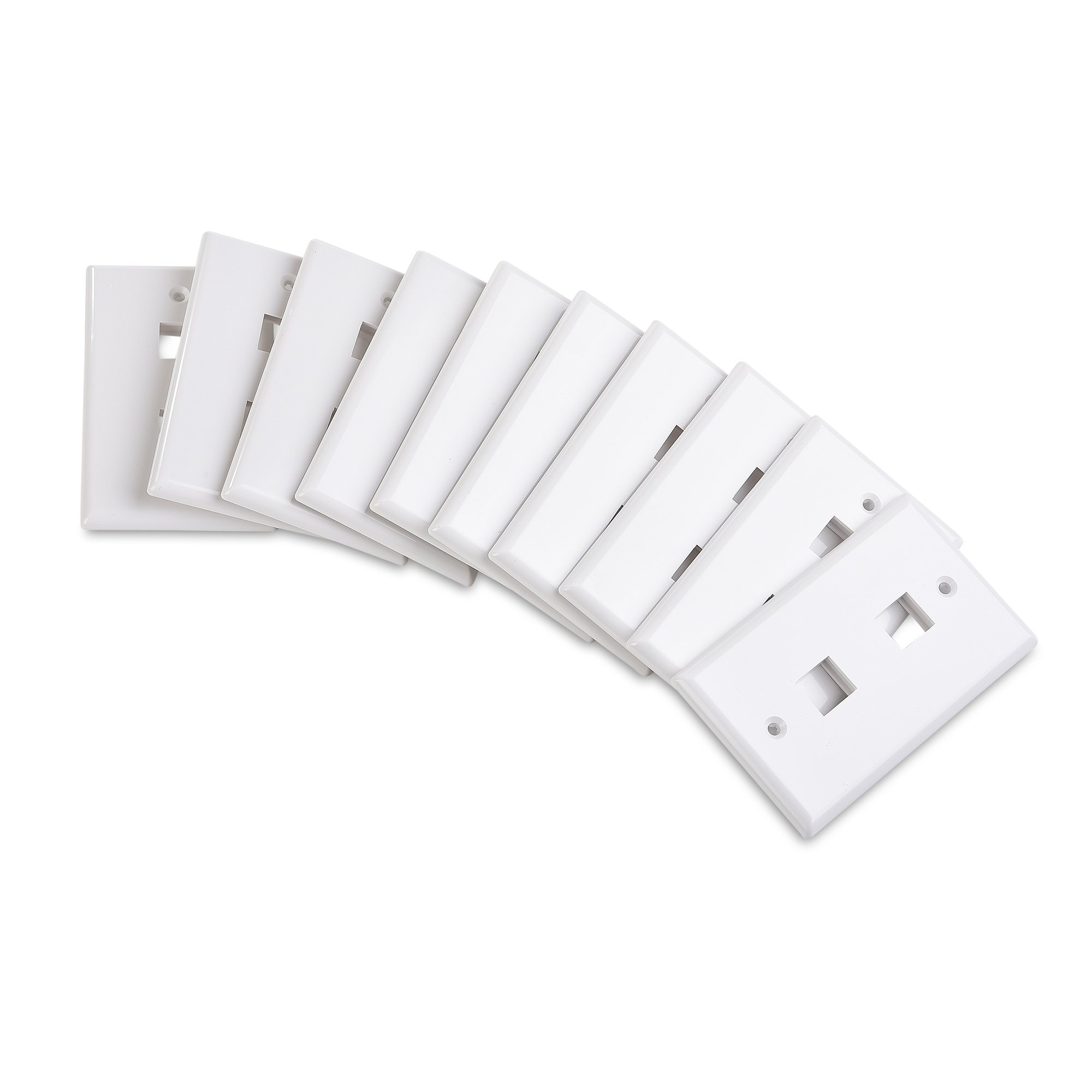 Cable Matters 10-Pack Low Profile 2-Port Keystone Jack Wall Plate in White