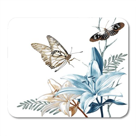 SIDONKU Beauty of Beautiful Flower on White Butterfly Wildlife Mousepad Mouse Pad Mouse Mat 9x10 inch