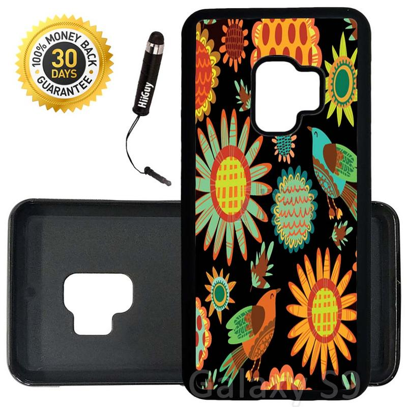 Custom Galaxy S9 Case (Colorful Sunflower Pattern) Edge-to-Edge Rubber Black Cover Ultra Slim | Lightweight | Includes Stylus Pen by Innosub