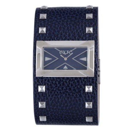 Exte Women's EX.4017M/06 Steel Rectangle Blue Dial Blue Leather Wristwatch