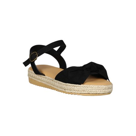 c6c54f0db65 Bamboo - Women Open Toe Bow Accent Espadrille Flatform Sandal ...