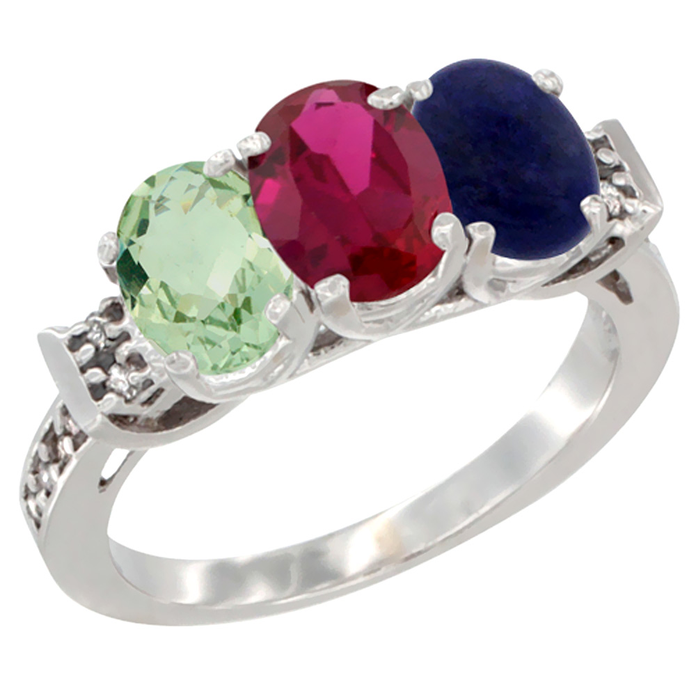 10K White Gold Natural Green Amethyst, Enhanced Ruby & Natural Lapis Ring 3-Stone Oval 7x5 mm Diamond Accent, sizes 5 10 by WorldJewels