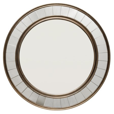 Alden Décor Round Wood Mirror with Trim - Antique -