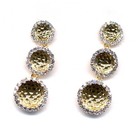 Dlux Jewels Two Tone Sterling Silver 3 Circle Earrings & Ma Two Tonee Gold Hammered with 35 mm Long White Cubic Zirconias - image 1 of 1