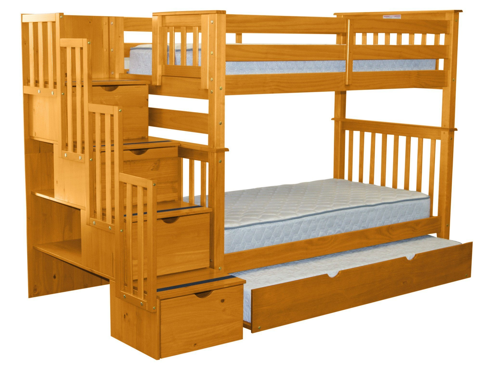Bedz King Tall Stairway Bunk Beds Twin Over Twin With 4 Drawers In The  Steps And A Twin Trundle, Honey   Walmart.com
