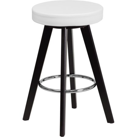 Flash Furniture Trenton Series 24'' High Contemporary White Vinyl Counter Height Stool with Cappuccino Wood Frame [CH-152600-WH-VY-GG] Set Of 2