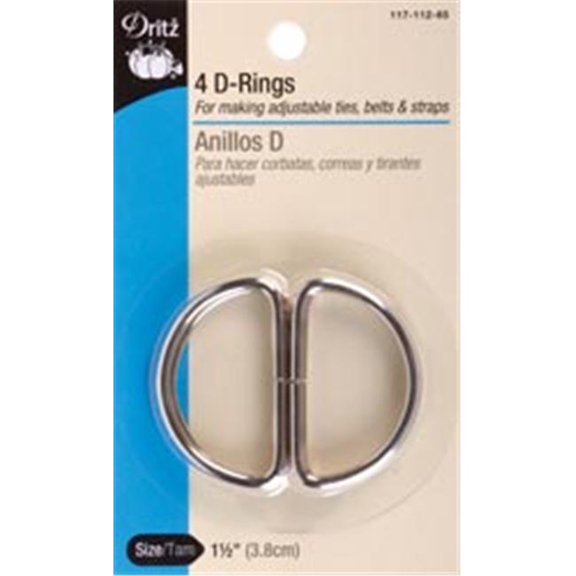 Dritz 92575 Metal inch D inch Rings 1. 5 inch 4-Pkg-Nickel
