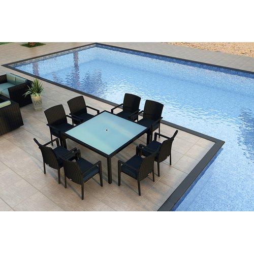 Orren Ellis Azariah 9 Piece Sunbrella Dining Set with Cushions