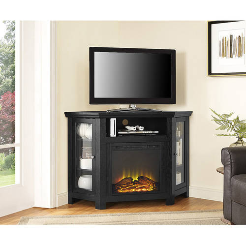 Wood Corner TV Fireplace TV Stand for TVs up to 52