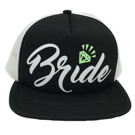 Bachelorette Party Bride Tribe Mesh Trucker Snap Back Hat (Black Hat/White Mesh, White Bride/Neon Green - Black Bachelorette Party