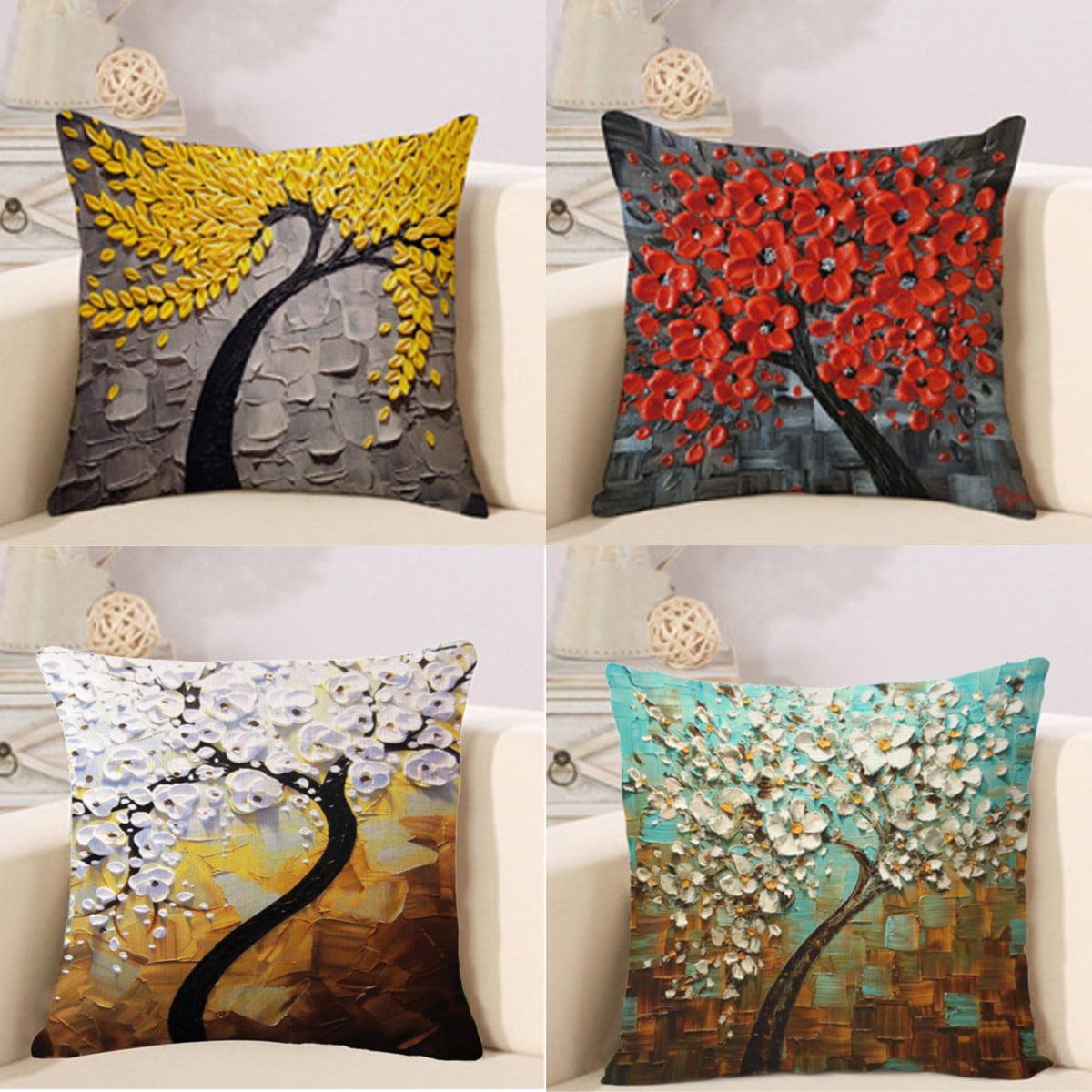 Thicken Colorful Bird Cotton Linen Throw PillowCase Cushion Protector Cover