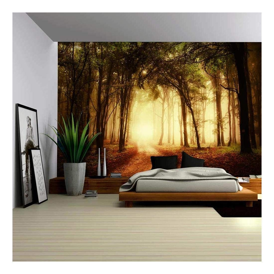 wall26 Pathway in a Forest with an Orange Glow - Wall Mural, Removable Sticker, Home Decor - 100x144 inches