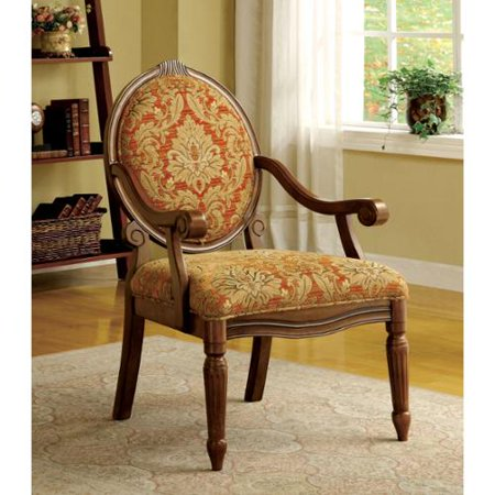 - Furniture of America Letitia Victorian Style Antique Oak Accent Chair by FOA