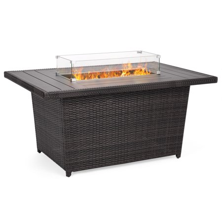 Best Choice Products 52in Outdoor Wicker Propane Gas Fire Pit Table for Patio, 50,000 BTU w/ Aluminum Tabletop, Glass Wind Guard, Clear Glass Rocks, Cover, Slide Out Tank Holder, Lid - Gray ()