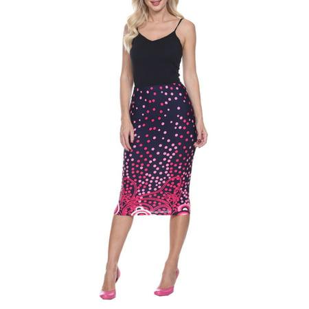 Women's Polka Dot Printed Pencil Midi Skirt (Polka Dot Skirt Halloween)