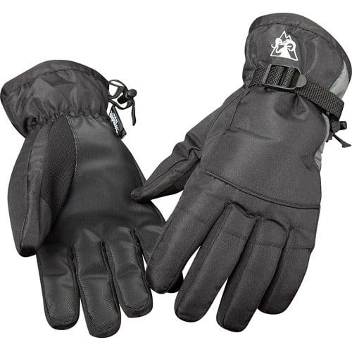 Rocky Adjustable Wrist Ski Gloves, Charcoal