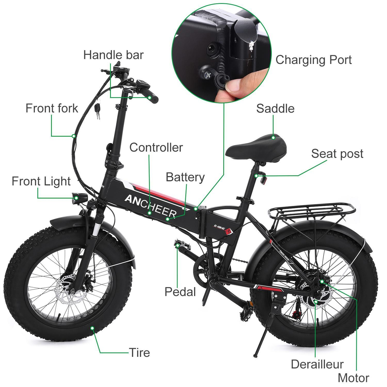 Folding Electric Mountain Bike Fat Tire 6 Speeds  Bicycle Beach Snow 250W Motor 48V 8AH Battery