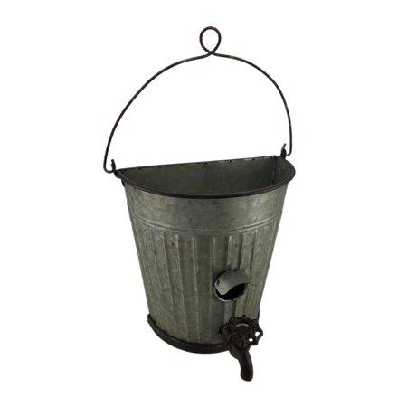 Galvanized Ribbed Metal Hanging Bucket Planter and Bird House - Mini Galvanized Buckets
