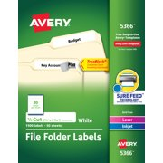 """Avery TrueBlock File Folder Labels, Sure Feed Technology, Permanent Adhesive, White, 2/3"""" x 3-7/16"""", 1,500 Labels (5366)"""