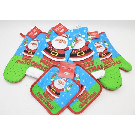 - Santa Novelty Kitchen Accessories Set Of 6 (Includes 2 Pot Holders, 2 Oven Mitts & 2 Towels) By Christmas House