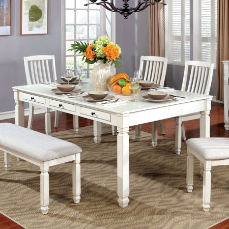 Furniture of America Aubrie Contemporary Antique White Dining Table by FOA  - Antique White