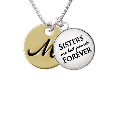 """Large Gold Tone Disc Letter - M - 3/4'' Sisters are Best Friends Forever Glass Dome Necklace, 18""""+2"""""""