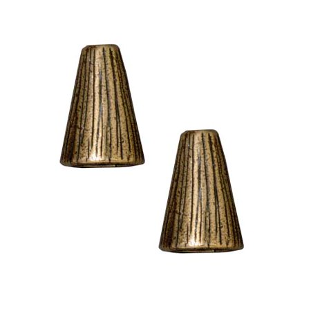 Brass Oxide Finish Lead-Free Pewter Etched Tall Cone Strand Reducer Beads 12.5mm (2)