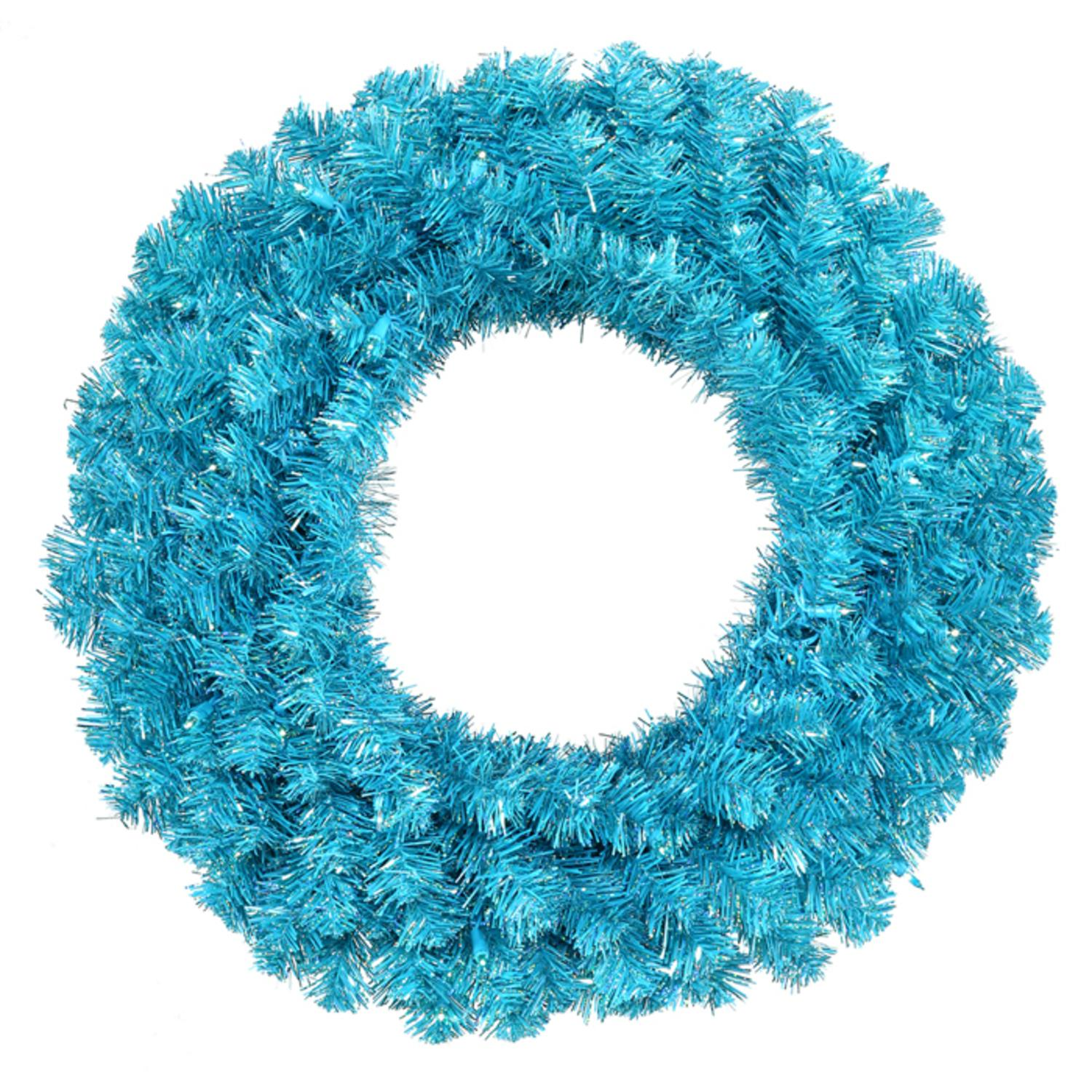 "36"" Pre-Lit Sparkling Sky Blue Artificial Christmas Wreath - Teal Lights"