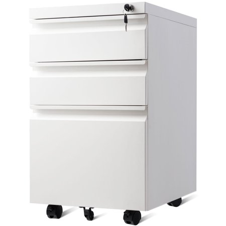 Gymax White Home Office 3 Drawers Mobile File Cabinet Rolling A4