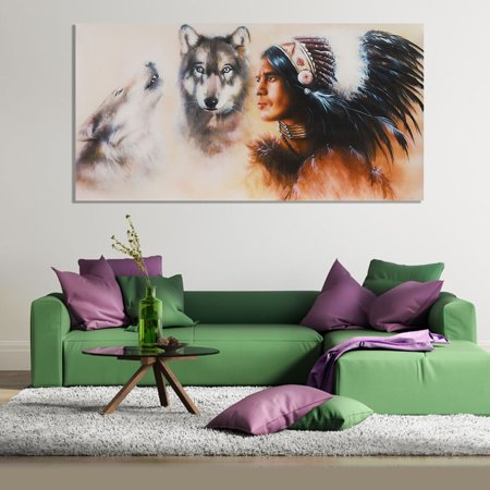 Indian Man Wolf Oil Painting Picture Canvas Prints Modern Abstract Shop Office Home Living Room Bedroom Wall Art Sticker Decor Without Frame - 31.5 x 15.7 Inches (Sale Online Shopping India)