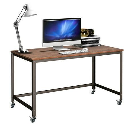 Costway Rolling Computer Desk Metal Frame PC Laptop Table Wood Top Study Workstation (Rolling Computer Desk Wood)