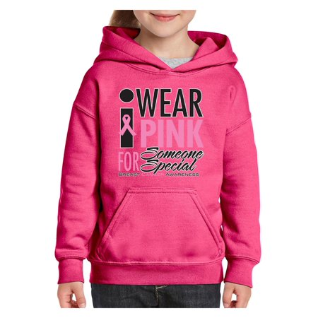 Cancer Awareness I Wear Pink for Someone Special Unisex Hoodie For Girls and Boys Youth Sweatshirt