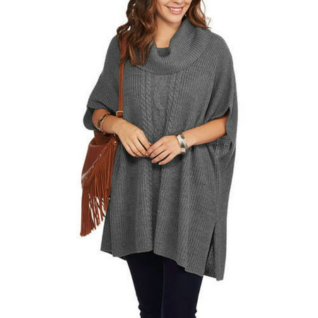 Faded Glory Women's Cowl Neck Poncho Sweater - Walmart.com