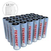 Combo: 24 pcs Tenergy AA 2500mAh NiMH Rechargeable Battery + 6 Free Cases