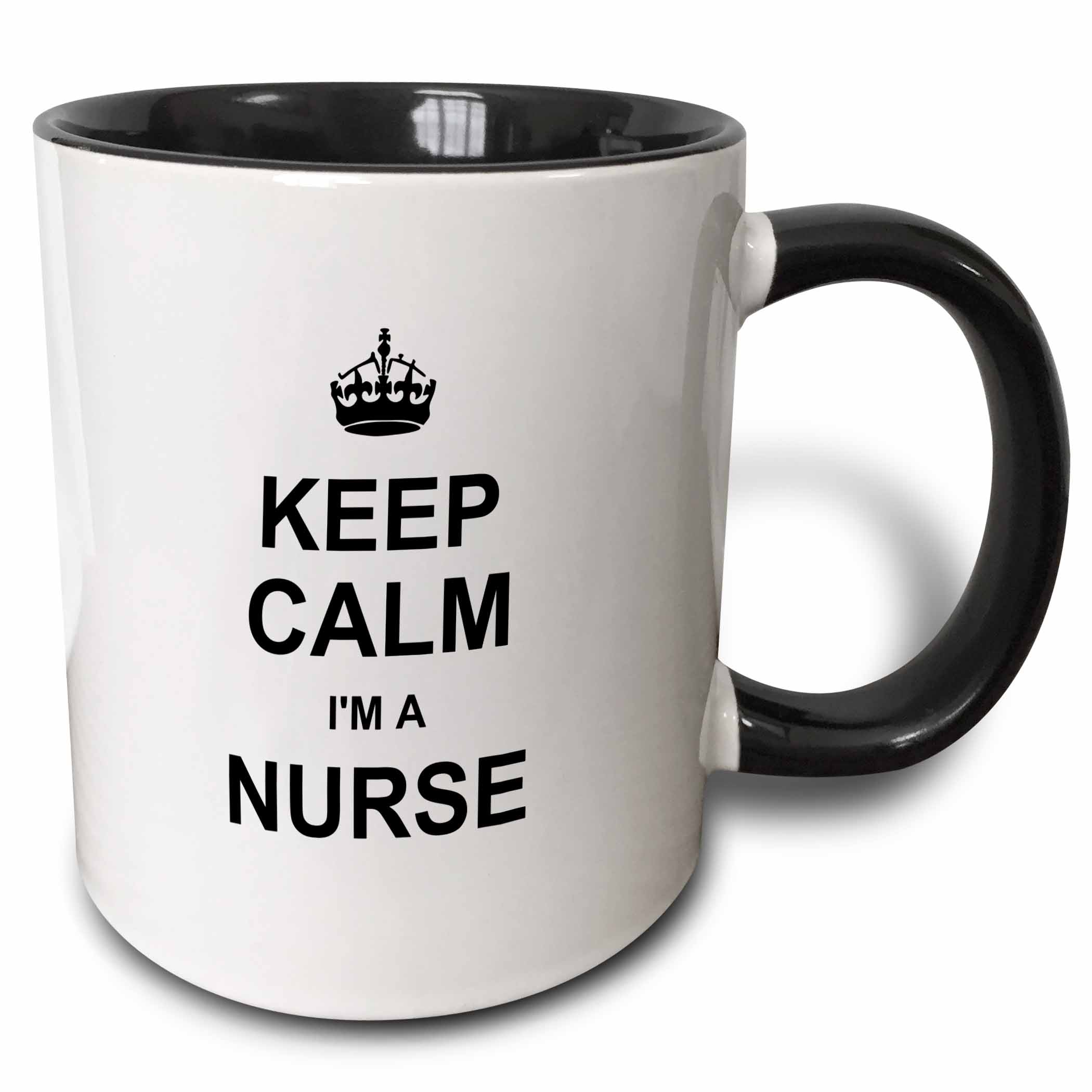 3dRose Keep Calm Im a Nurse - nursing pride - funny medical profession gift, Two Tone Black Mug, 11oz