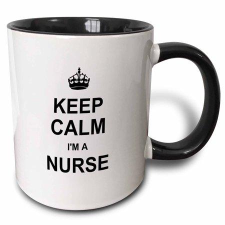 3dRose Keep Calm Im a Nurse - nursing pride - funny medical profession gift, Two Tone Black Mug, 11oz