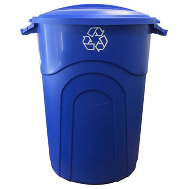 United Solutions TI0028 32 Gallon Blue Recycle Can