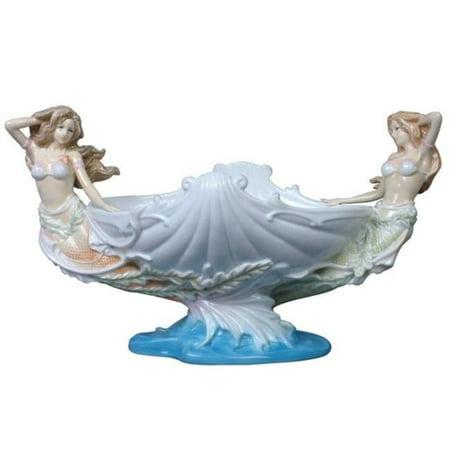 Flowerpot Mermaids and Shell Porcelain Dish