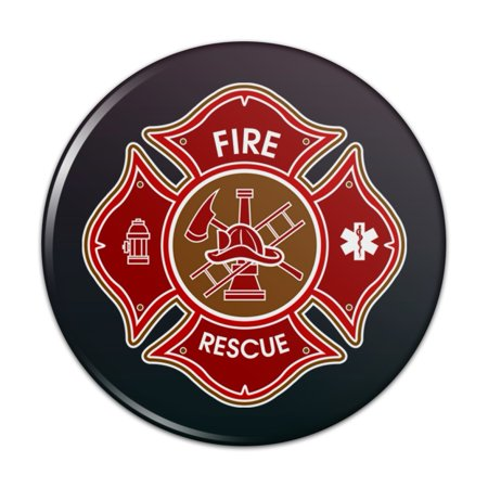 "Firefighter Fire Rescue Maltese Cross Pinback Button Pin Badge - 1"" Diameter"