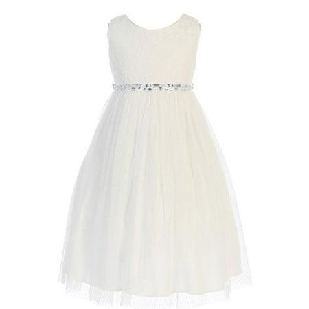 Angels Garment Little Girls Off-White Lace Pin Dot Mesh Flower Girl -